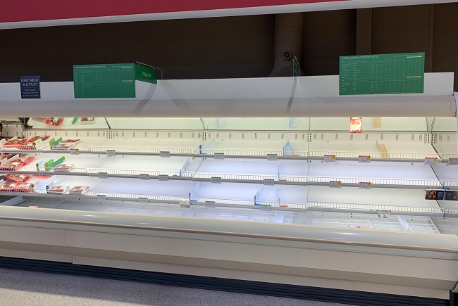 empty grocery shelves
